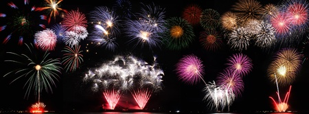 Set of colorful fireworks photo