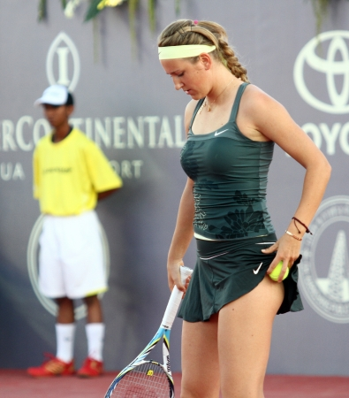 Hua Hin - December 29:Victoria Azarenka of Belarus fumbled the ball out of the shorts in the match