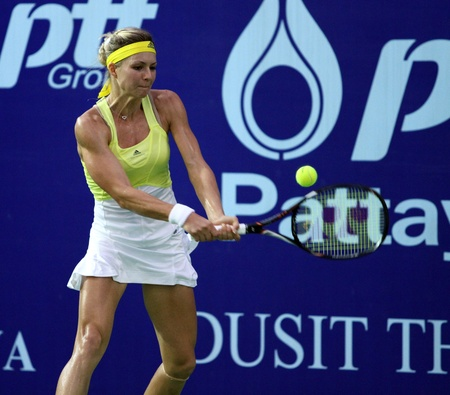 Pattaya, Thailand - FEB 3:Maria Kirilenko of Russia in action during PTT Pattaya Open 2013 at Dusit thani pattaya on February   3, 2013 in Pattaya, Thailand.