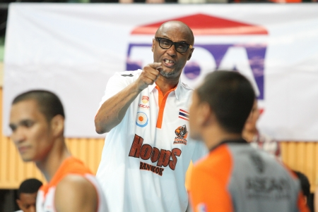 playoffs: BANGKOK - MAY 28 Joe Bryant head coach ofSports Rev Thailand Slammers talk with referee in ASEAN Basketball League  ABL  playoffs game3 at Nimibut Stadium on May 28, 2013 in Bangkok,Thailand