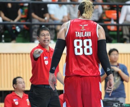 playoffs: BANGKOK - MAY 28 Pauliasi Taulava  88 participates in an ASEAN Basketball League  ABL  playoffs game3 at Nimibut Stadium on May 28, 2013 in Bangkok,Thailand  Editorial