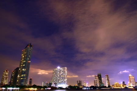 Bangkok downtown night under the clouds, Thailand photo