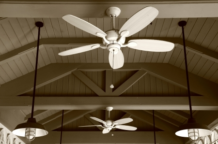 セピア調の天井のファン 写真素材