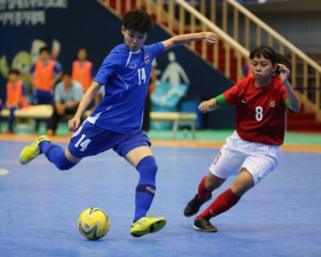Incheon - July 5 PHOTHIWONG Sasicha  14 of Thailand in action during futsal match vs  Indonesia in an 4th Asian Indoor and Martial Arts Games at Songdo Global University on July 5, 2013 in Incheon, Korea