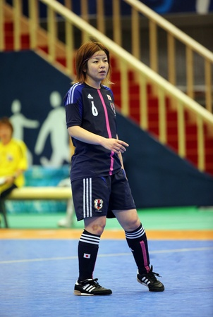 Incheon - July 5 INO Misato of Japan in action during futsal match vs  Iran in an 4th Asian Indoor and Martial Arts Games at Songdo Global University on July 5, 2013 in Incheon, Korea  Stock Photo - 20877617
