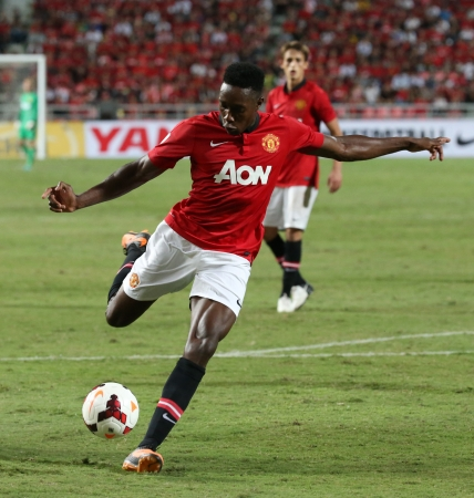 Bangkok - July 13 Danny Welbeck of Man Utd  in action during Singha 80th   Anniversary Cup Manchester United vs Singha All Star at Rajamangala Stadium on July 13, 2013 in   Bangkok, Thailand