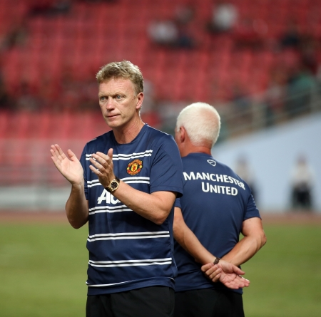 Bangkok - July 13 David Moyes head coach of Man Utd  in action during Singha   80th Anniversary Cup Manchester United vs Singha All Star at Rajamangala Stadium on July 13,2013 in   Bangkok, Thailand