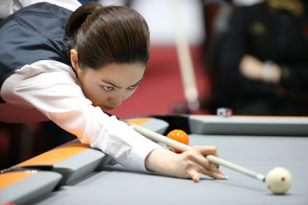 Incheon - July 3 Cha Yu-Ram billiard player of South Korea participates in an 4th Asian  Indoor and Martial Arts Games 2013 at Songdo Convensiaon on July 3, 2013 in Incheon, South Korea