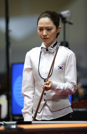 Incheon - July 3 Cha Yu-Ram billiard player of South Korea participates in an 4th Asian  Indoor and Martial Arts Games 2013 at Songdo Convensiaon on July 3, 2013 in Incheon, South Korea  Stock Photo - 20877736