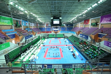 popularized: Incheon - June 29 Ansan Sangnoksu Gymnasium during the Indoor Kabaddi 4th Asian Indoor and Martial Arts Games 2013 on June 29 2013 in Incheon, South Korea