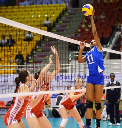 Nakhon Ratchasima, Thailand - AUG 1 Wilmarie Rivera  11 of Puerto Rico in action during FIVB Volleyball Girls' U18 World Championship at Chatchai Hall on August 1, 2013 in Nakhon Ratchasima, Thailand