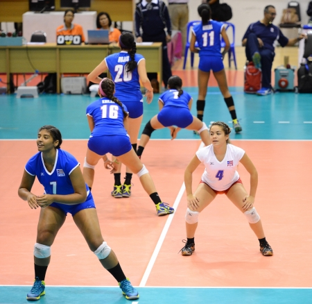 velazquez: Nakhon Ratchasima, Thailand - AUG 1 Yamilet Velazquez  7 and Okiana Valle  4 of Puerto Rico in action during FIVB Volleyball Girls� U18 World Championship at Chatchai Hall on August 1, 2013 in Nakhon Ratchasima, Thailand