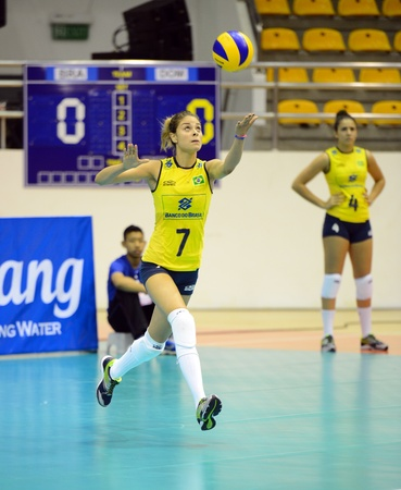 silva: Nakhon Ratchasima, Thailand - July 26 Gabriela Silva  7 of Brazil paticipates in a FIVB Volleyball Girls� U18 World Championship at Chatchai Hall on July 26, 2013 in Nakhon Ratchasima, Thailand  Editorial
