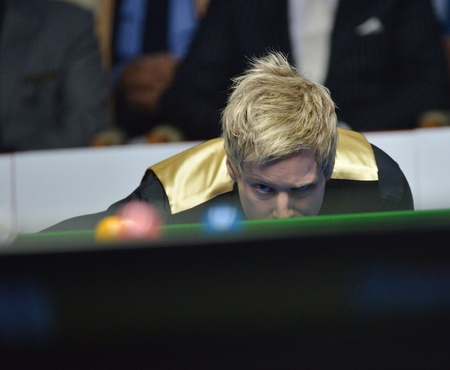 Bangkok, Thailand - SEP 7 Neil Robertson of Australia in action during Sangsom Six-red World Championship 2013 at Montien Riverside Hotel on September 7, 2013 in Bangkok, Thailand