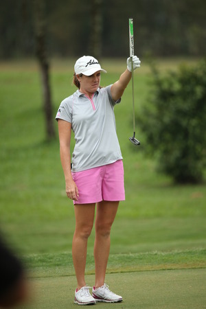 Chonburi, Thailand - FEB 21 Alison Walshe of USA in action during Honda LPGA Thailand 2014 at Siam Country Club Pattaya Old Course on February 21, 2014 in Chonburi,   Thailand