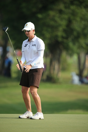 Chonburi, Thailand - FEB 22 Karrie Webb of Australia in action during Honda LPGA Thailand 2014 at Siam Country Club Pattaya Old Course on February 22, 2014 in Chonburi,   Thailand