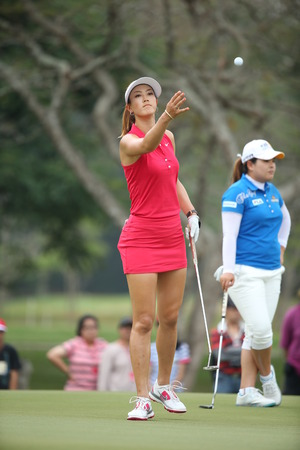 Chonburi, Thailand - FEB 23 Michelle Wie of USA in action during Honda LPGA Thailand 2014 at Siam Country Club Pattaya Old Course on February 23, 2014 in Chonburi,   Thailand