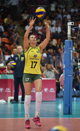 Bangkok, Thailand - August 17 Gina Altagracia Mambru Casilla of Brazil in action during Volleyball World Grand Prix 2014 at Indoor Stadium Huamark on August 17, 2014 in Bangkok, Thailand  Editorial
