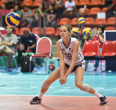Bangkok, Thailand - August 17 Kelsey Robinson of USA participates in a Volleyball World Grand Prix 2014 at Indoor Stadium Huamark on August 17, 2014 in Bangkok, Thailand  Editorial