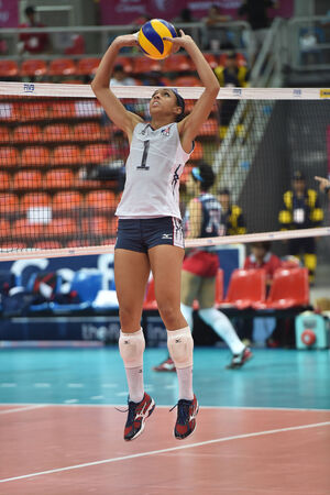 Bangkok, Thailand - August 17 Alisha Glass of USA participates in a Volleyball World Grand Prix 2014 at Indoor Stadium Huamark on August 17, 2014 in Bangkok, Thailand