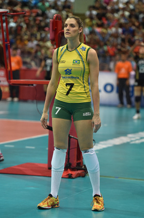 laurence: Bangkok, Thailand - August 17 Andreia Sforzin Laurence of Brazil participates in a Volleyball World Grand Prix 2014 at Indoor Stadium Huamark on August 17, 2014 in Bangkok, Thailand