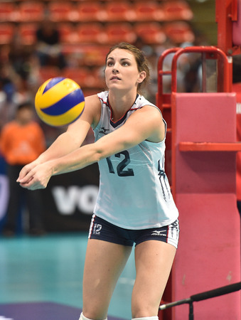 Bangkok, Thailand - August 17 Kelly Murphy of USA participates in a Volleyball World Grand Prix 2014 at Indoor Stadium Huamark on August 17, 2014 in Bangkok, Thailand