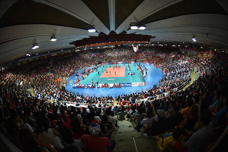 Bangkok, Thailand - August 17 Indoor Stadium Huamark during the FIVB Volleyball World Grand Prix 2014 at Indoor Stadium Huamark on August 17, 2014 in Bangkok, Thailand
