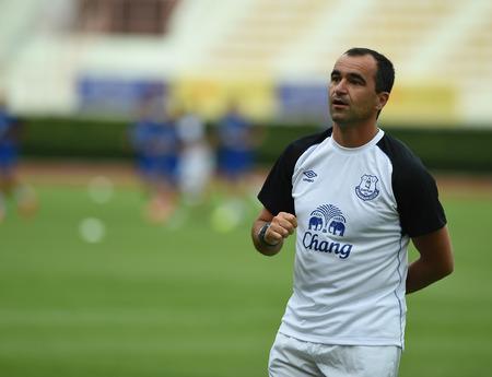 Bangkok, Thailand - July26 Roberto Martinez manager of Everton in action during an evening session at Supachalasai Stadium on July 26, 2014 in Bangkok, Thailand