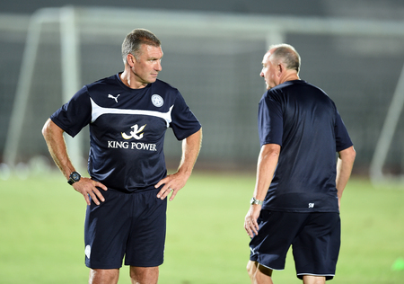 Bangkok, Thailand - July25 Nigel Pearson manager of Leicester City in action during an evening session at Thai Army Sports Stadium on July 25, 2014 in Bangkok, Thailand