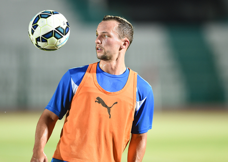 Bangkok, Thailand - July25 Daniel Drinkwater of Leicester City in action during an evening session at Thai Army Sports Stadium on July 25, 2014 in Bangkok, Thailand
