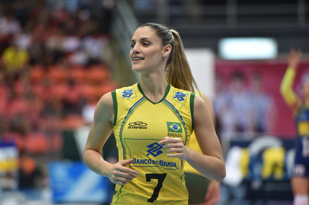 laurence: Bangkok, Thailand - August 15 Andreia Sforzin Laurence of Brazil in action during the Volleyball World Grand Prix 2014 at Indoor Stadium Huamark on August 15, 2014 in Bangkok, Thailand