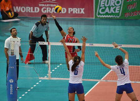 Bangkok, Thailand - August 15 Gina Altagracia Mambru Casilla of Dominican Republic in action during the Volleyball World Grand Prix 2014 at Indoor Stadium Huamark on August 15, 2014 in Bangkok, Thailand  Editorial