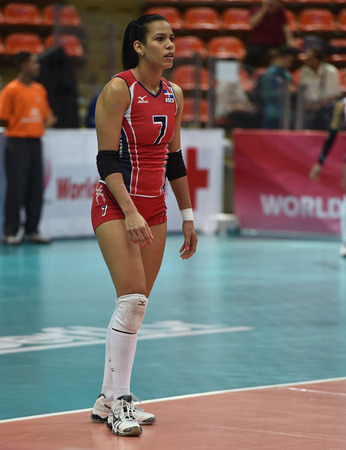 Bangkok, Thailand - August 15 Niverka Dharlenis Marte Frica of Dominican Republic in action during the Volleyball World Grand Prix 2014 at Indoor Stadium Huamark on August 15, 2014 in Bangkok, Thailand