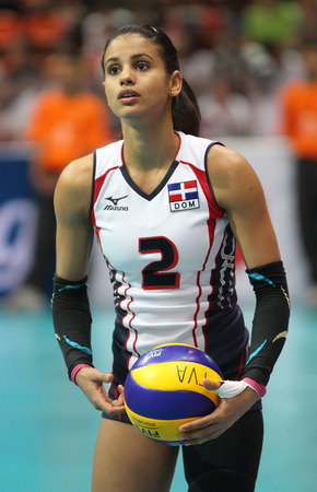 perez: Bangkok, Thailand - August 15 Winifer Maria Fernandez Perez of Dominican Republic in action during the Volleyball World Grand Prix 2014 at Indoor Stadium Huamark on August 15, 2014 in Bangkok, Thailand