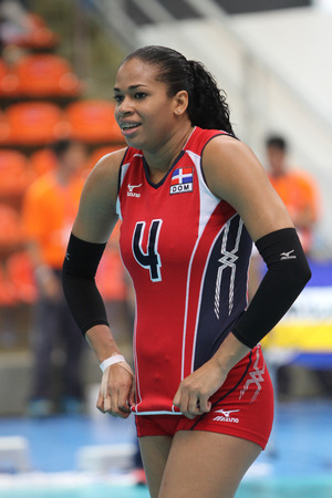 marianne: Bangkok, Thailand - August 15 Marianne Fersola Norberto of Dominican Republic in action during the Volleyball World Grand Prix 2014 at Indoor Stadium Huamark on August 15, 2014 in Bangkok, Thailand