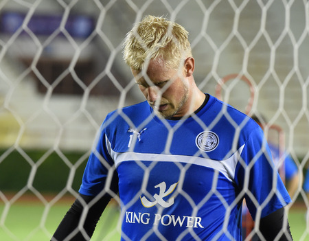 Bangkok, Thailand - July26 Kasper Schmeichel of Leicester City in action during an evening session at Supachalasai Stadium on July 26, 2014 in Bangkok, Thailand