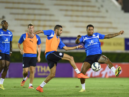 Bangkok, Thailand - July26 Riyad Marez of Leicester City in action during an evening session at Supachalasai Stadium on July 26, 2014 in Bangkok, Thailand