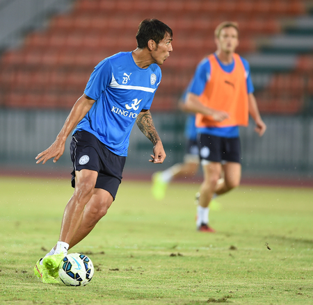 Bangkok, Thailand - July25 Jose Leonardo ulloa fernandez of Leicester City in action during an evening session at Thai Army Sports Stadium on July 25, 2014 in Bangkok, Thailand