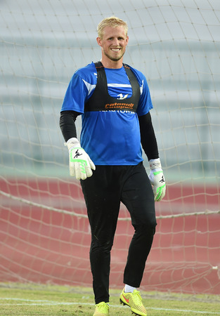 Bangkok, Thailand - July25 Kasper Schmeichel of Leicester City in action during an evening session at Thai Army Sports Stadium on July 25, 2014 in Bangkok, Thailand