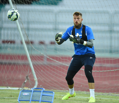 Bangkok, Thailand - July25 Benjamin Hamer of Leicester City in action during an evening session at Thai Army Sports Stadium on July 25, 2014 in Bangkok, Thailand