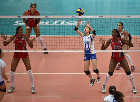 laurence: Bangkok, Thailand - August 15 Nootsara Tomkom of Thailand in action during the Volleyball World Grand Prix 2014 at Indoor Stadium Huamark on August 15, 2014 in Bangkok, Thailand