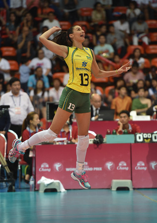Bangkok, Thailand - August 15 Sheilla Castro De Paula Bra  of Brazil in action during the Volleyball World Grand Prix 2014 at Indoor Stadium Huamark on August 15, 2014 in Bangkok, Thailand