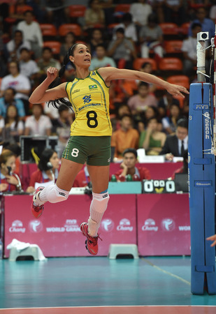 Bangkok, Thailand - August 15 Jaqueline Pereira De Carvalho of Brazil in action during the Volleyball World Grand Prix 2014 at Indoor Stadium Huamark on August 15, 2014 in Bangkok, Thailand