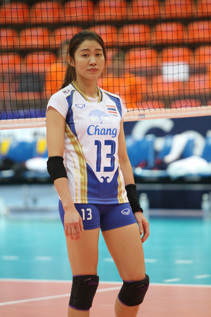 Bangkok, Thailand - August 15 Nootsara Tomkom of Thailand in action during the Volleyball World Grand Prix 2014 at Indoor Stadium Huamark on August 15, 2014 in Bangkok, Thailand