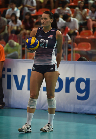 Bangkok, Thailand - August 15 Tetori Dixon of USA in action during the Volleyball World Grand Prix 2014 at Indoor Stadium Huamark on August 15, 2014 in Bangkok, Thailand