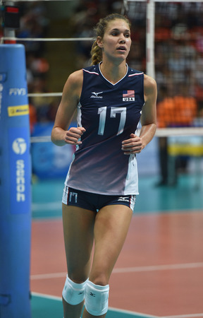 alexandra: Bangkok, Thailand - August 15 Alexandra Klineman of USA in action during the Volleyball World Grand Prix 2014 at Indoor Stadium Huamark on August 15, 2014 in Bangkok, Thailand  Editorial