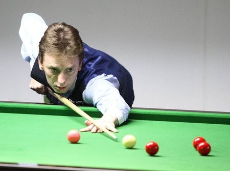 Bangkok, Thailand - SEP 1:Ken Doherty of Ireland participates in a Sangsom Six-red World Championship 2014 at Montien Riverside Hotel on September 1, 2014 in Bangkok, Thailand.
