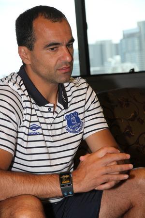 thialand: BANGKOK, THAILAND - JULY 25:Roberto Martinez Manager of Everton media interview at Plaza Athenee Hotel on july 25, 2014 in Bangkok, Thialand.