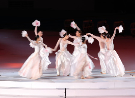 incheon: INCHEON - SEP 4:Unidentified beautiful  girls show the Korean culture in the Closing Ceremony 2014 Incheon Asian Games at Incheon Asiad Main Stadium on September 4, 2014 in Incheon, South Korea.