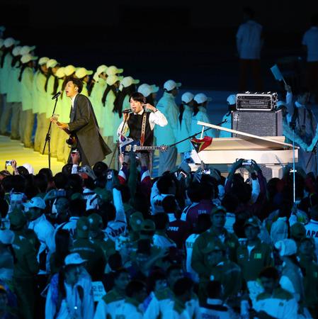 仁川 - 9 月 4:CNBLUE 韓国語男の子バンド掲載ミニコンサート閉会式 2014年仁川アジア大会仁川アジアド主競技場で 2014 年 9 月 4 日仁川、韓国です。